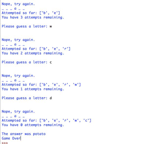example of hangman game written in Python